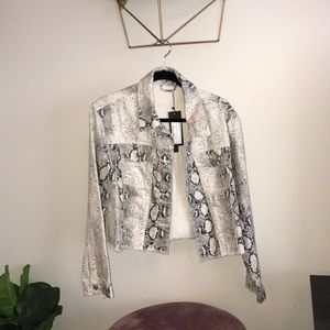 Cropped snakeskin denim jacket